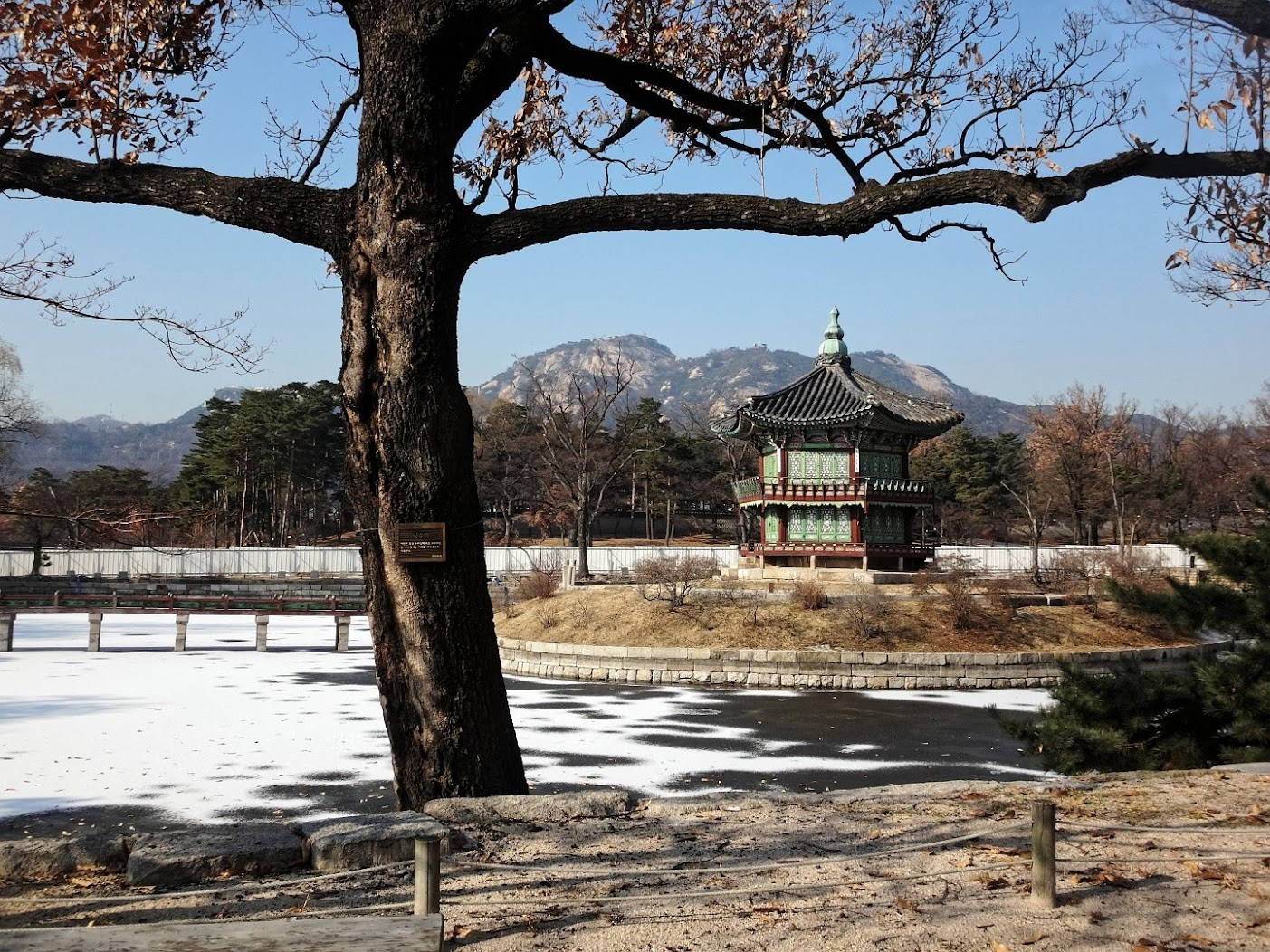 Pavillion in the northern lake of Gyeongbokgung Palace, Seoul, Korea