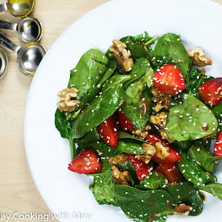 Strawberry and Spinach Salad with Balsamic Dressing.