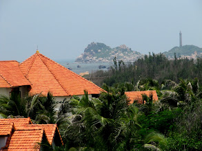 Photo: Year 2 Day 23 - Lighthouse in Background is Cape Nghinh Phong  (Another Resort on Left)