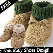 knit baby shoes design icon