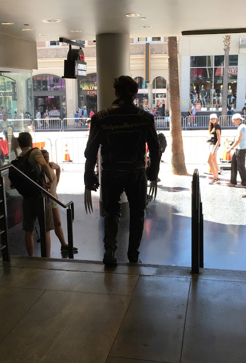 Wolverine walking around the Dolby Theater.