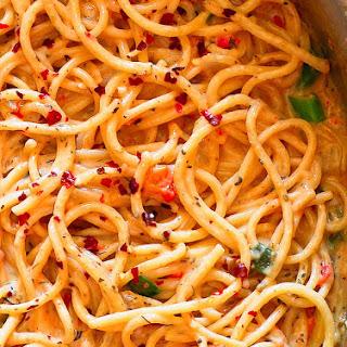 Spicy Pasta in Creamy White Wine Parmesan Sauce.