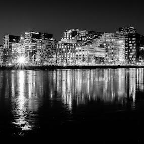 Oslo Barcode by Bjørn Kristiansen - Black & White Buildings & Architecture ( nightshot, speiling, oslo, nattbilde, barcode, long exposure )