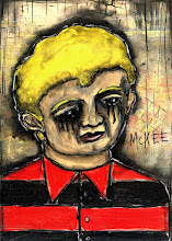 """Photo: Black Eyed Boy.  2.5/3.5"""" or 6/9 cm.  Mixed medium on archival paper. Signed and sealed. ©Marisol McKee"""
