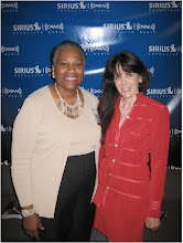 Photo: Maggie Linton, host Book Radio and Julie Spira at BookExpo America on Sirius-XM Radio