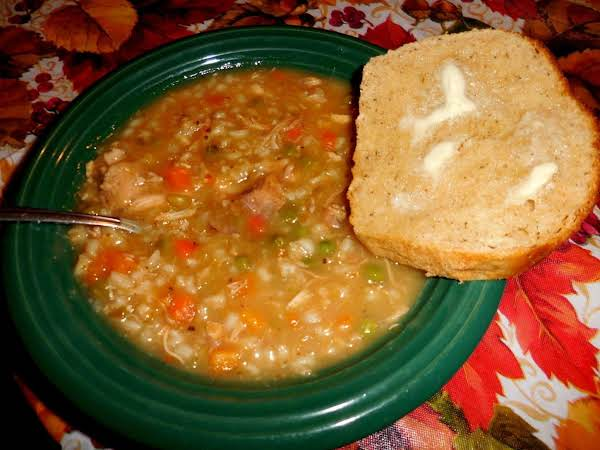 Turkey Barley Veggie Soup With Rosemary Potato Bread & Butter. They Perfect Way To Use Up Thanksgiving Leftovers. 11/29/15