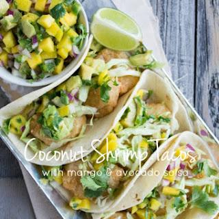 Coconut Shrimp Tacos and Mango Avocado Salsa