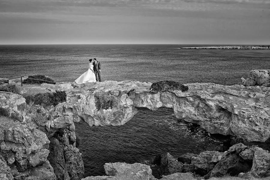 The lovers bridge by Constantinos Katsantonis - Wedding Bride & Groom ( seashot, b&w, black and white, wedding, bride and groom, landscape )
