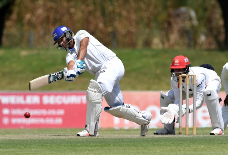 Zubayr Hamza in his innings of 56 runs during day 2 of the 4 Day Franchise Series match between WSB Cape Cobras and bizhub Highveld Lions at Eurolux Boland Park on November 06, 2018 in Paarl, South Africa.