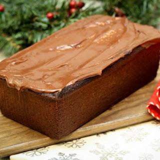 Hot Cocoa Pound Cake with Eggnog Glaze