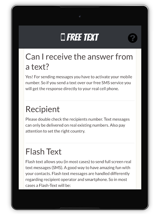 Free Text Message- screenshot