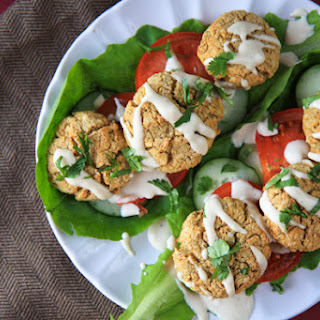 Baked Falafel Lettuce Wraps with Tahini Sauce