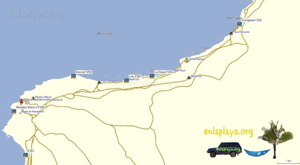 Mapa de Playas del Sector Medanos Blancos