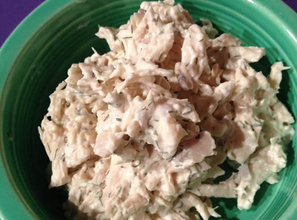 Stir shredded chicken into the mayonnaise mixture and fold until completely blended.  It's...