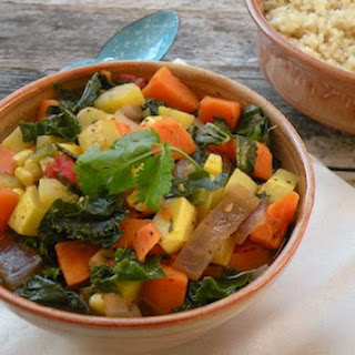Kale, Yellow Squash, and Sweet Potato Stew.