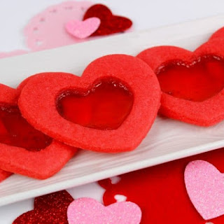 Valentine's Day Heart-Shaped Stained Glass Cookies With Jolly Ranchers.