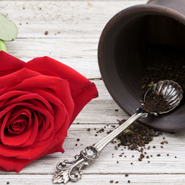 A clay teacup with a Rose. by Dipali S - Food & Drink Alcohol & Drinks ( book, bright, clay, tea, view, top, white, beverage, nobody, table, flowers, herbal, old, relaxation, teapot, drink, flower, morning, books, liquid, background, vintage, wooden, coffee, garden, autumn, breakfast, fresh, mug, roses, cup )