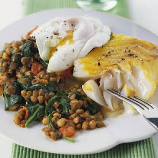 Smoked Haddock with Curried Lentils.