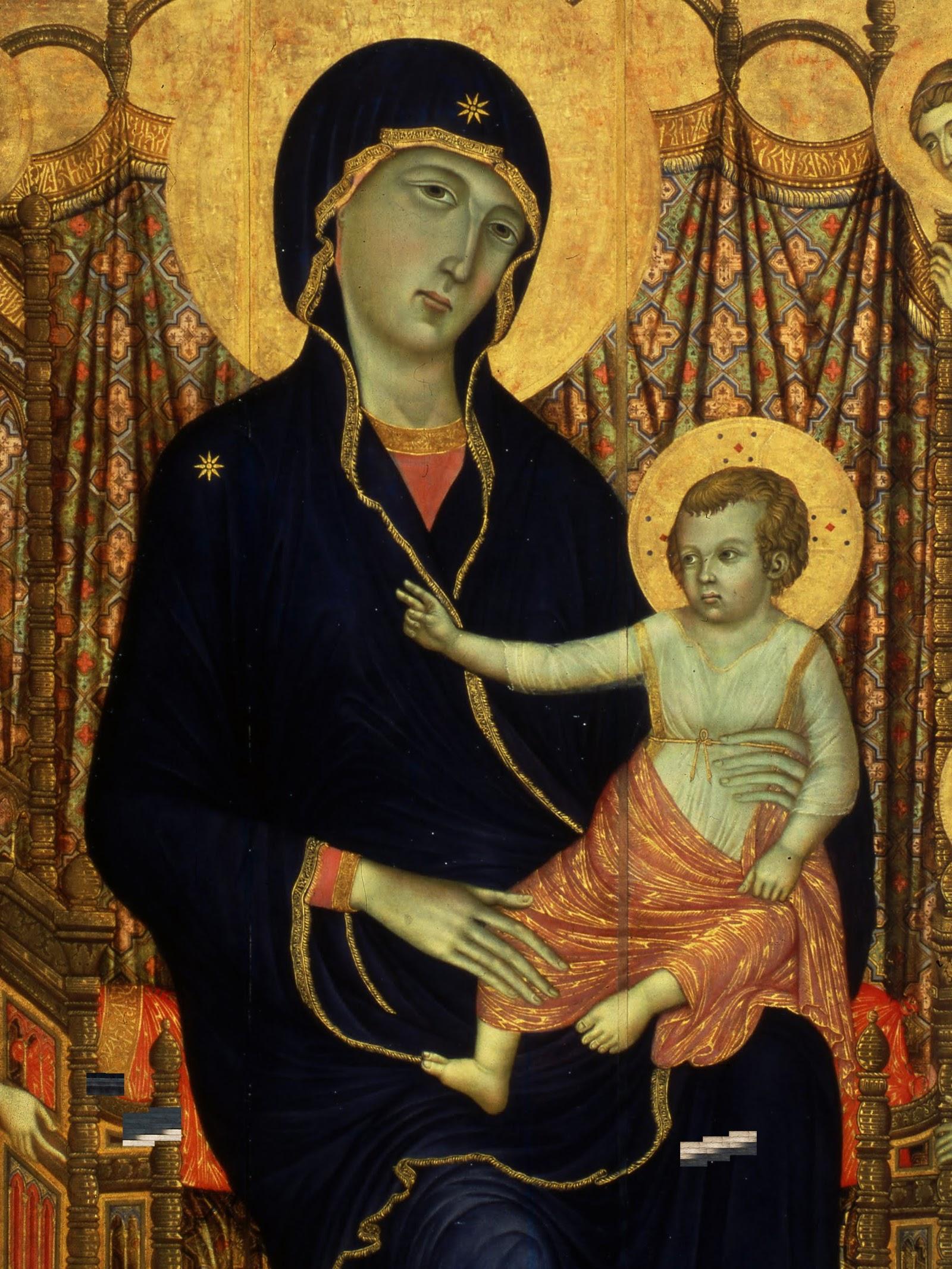 Duccio di Buoninsegna, Madonna Rucellai, (particolare Madonna), 1285 (commissione), tempera e oro su tavola, 450×290 cm, Galleria degli Uffizi, Firenze