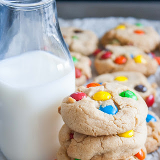 Thick Peanut Butter M&M Cookies