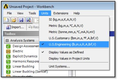 ANSYS - Задание единиц измерения