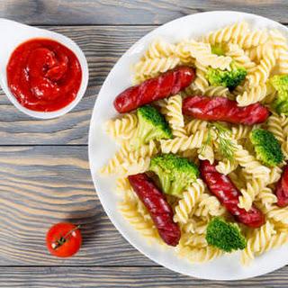 Spiral Pasta With Pork Sausage & Broccoli.