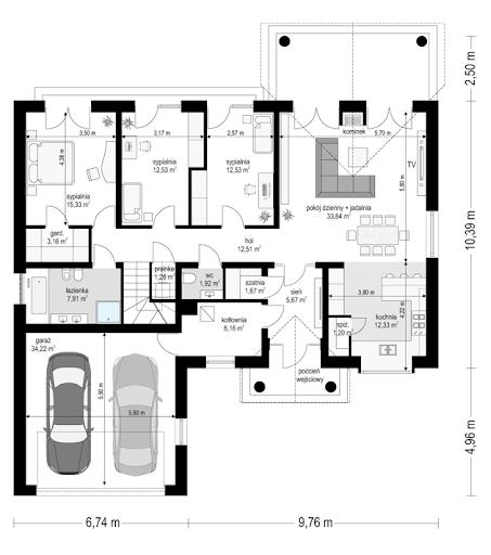 Dom na parkowej 6 - Rzut parteru