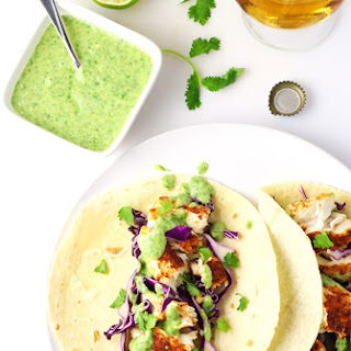 Tilapia Fish Tacos with Avocado Cilantro Sauce Recipe