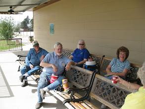 Photo: Train Watchers Gary McCoy, Pete Guy, Carolyn Balkum, and Virginia Freitag