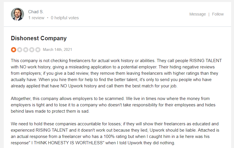 Upwork review from real customer 28