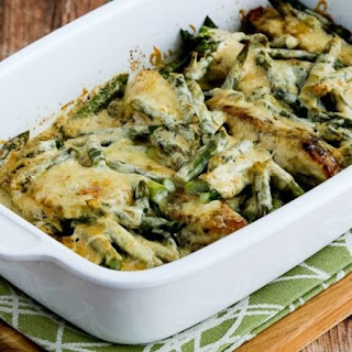 Chicken and Asparagus with Three Cheeses.