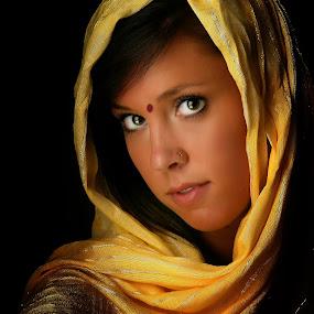 Portrait in Cyan by Troy Pearson - People Portraits of Women ( cyan, female, lady, yellow, portrait,  )