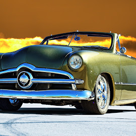 Olive Green by JEFFREY LORBER - Transportation Automobiles ( jeffrey lorber, rust 'n chrome, car, convertible, 1949, ford, lorberphoto, green car )