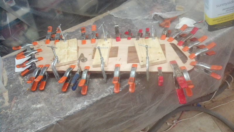 Photo: Daggerboard glue up..8 squirts plus thickener