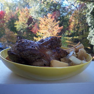 Lamb Shank with Red Potatoes, Cranberries, and White Wine