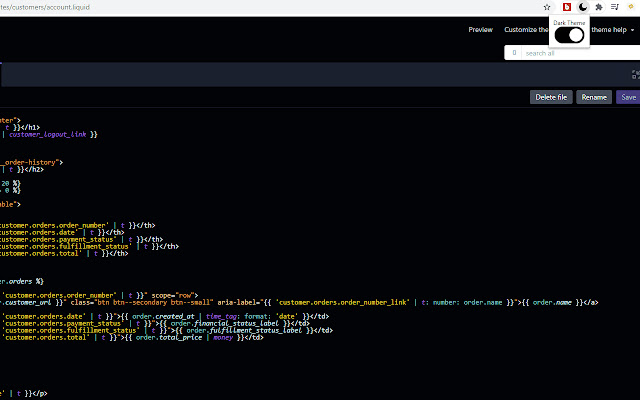 Shopify Code Editor Dark Mode