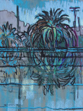 Photo: Delta Palms in Blue, pastel by Nancy Roberts, copyright 2014. Private collection.