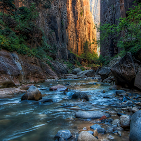 Narrows 4 by Kent Moody - Landscapes Caves & Formations ( utah, narrows, zion, canyons, river )