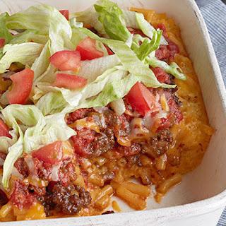 Cheesy Macaroni Taco Bake.