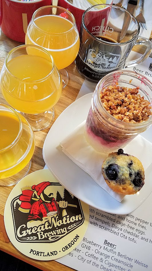 Beer for Breakfast at Great Notion Brewing on September 25, 2016: Course 1 Parfait (either dairy or vegan yogurt) with marionberry and ginger compote and pulverized hazelnut brittle and Random Order blueberry muffin or a vegan blueberry fig bar. Beer Pairings of Great Notion Brewing Barrel Aged Apricot Mimosa, Reverend Nat's Tepache with Prosecco, Culmination/Ruse Breakfast in Paradise Imperial Wit with Pineapple, Great Notion Brewing Blueberry Pancakes