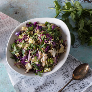 Grilled Cabbage Salad with Peanuts and Mint.