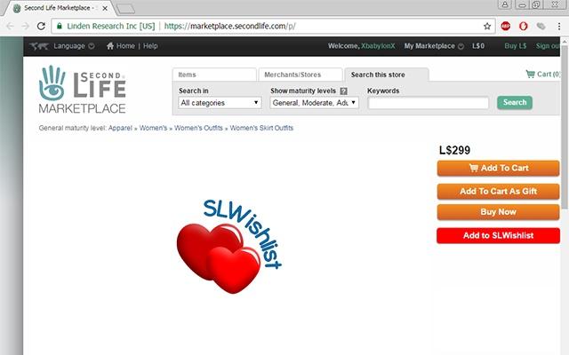 SLWishlist.com adding sl marketplace products