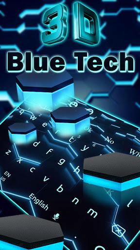 3D Live Blue Neon Hexagon Tech Keyboard 10002 screenshots 1