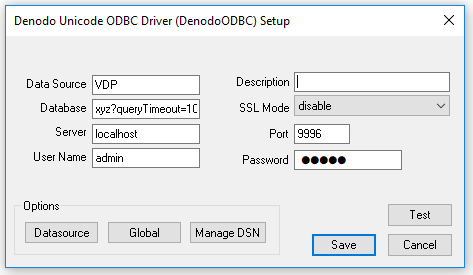 Configuration of ODBC timeout in a DSN