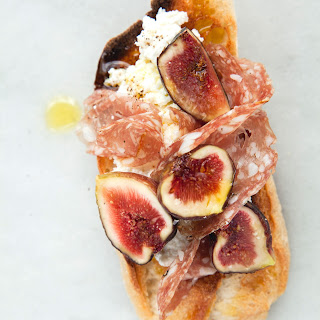 Salami and Fig Crostini with Ricotta