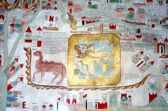 """Photo: """"Es gibt zwei GALILÄA: das eine ist das der Völkerschaften neben dem tyrischen Gebiet im Bezirk Neptalim, das andere liegt um den See Tiberias und den See Genezareth herum im Bezirk Zabulon; gewöhnlich wird auch der Weg von Zion ins Tal Josaphat hinab Galiläa genannt."""" Rechts davon steht: Die Quelle Siloa entspringt am Fuße des Berges Zion; sie sprudelt aber nicht ständig, sondern nur zu bestimmten Stunden. Eine Art Teich in der Nähe der Quelle soll das Wasser auffangen. Dieses Becken nennt die Schrift einmal Piscina, einmal Natatoria."""""""