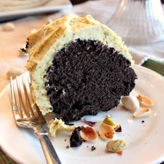 Moist Chocolate Cake with Pistachio Buttercream Frosting.