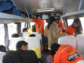 Photo: yellow and purple team in the bus