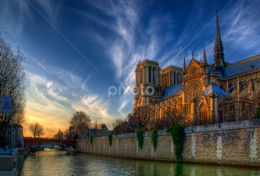 On the Seine at dusk - Notre Dame de Paris by Anton Donev - Travel Locations Landmarks ( clouds, paris, seine, pont au double, sky, notre dame, blue, france, cathedral, bridge, dusk, river, hdr, , HDR, Landscapes )