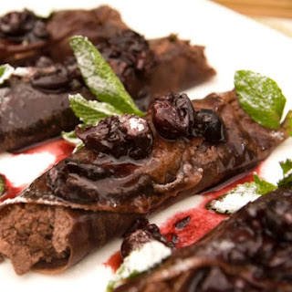 Chocolate Blintzes with Chocolate Whipped Ricotta-Almond Filling and Warm Cherry Sauce